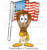 Vector Illustration of a Cartoon Chicken Drumstick Mascot Pledging Allegiance to an American Flag by Toons4Biz