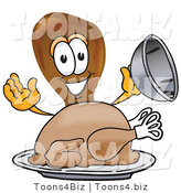 Vector Illustration of a Cartoon Chicken Drumstick Mascot Serving a Thanksgiving Turkey on a Platter by Toons4Biz