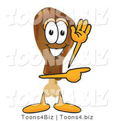 Vector Illustration of a Cartoon Chicken Drumstick Mascot Waving and Pointing by Toons4Biz