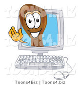 Vector Illustration of a Cartoon Chicken Drumstick Mascot Waving from Inside a Computer Screen by Toons4Biz