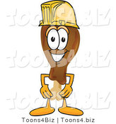 Vector Illustration of a Cartoon Chicken Drumstick Mascot Wearing a Hardhat Helmet by Toons4Biz