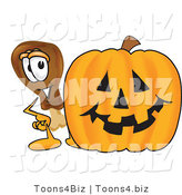 Vector Illustration of a Cartoon Chicken Drumstick Mascot with a Carved Halloween Pumpkin by Toons4Biz