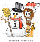 Vector Illustration of a Cartoon Chicken Drumstick Mascot with a Snowman on Christmas by Toons4Biz