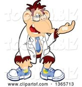 Vector Illustration of a Cartoon Chimpanzee Monkey Scientist Mascot with Presenting Hand Gesture by Toons4Biz