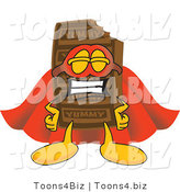 Vector Illustration of a Cartoon Chocolate Mascot Dressed As a Super Hero by Toons4Biz