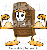 Vector Illustration of a Cartoon Chocolate Mascot Flexing His Arm Muscles by Toons4Biz