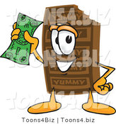 Vector Illustration of a Cartoon Chocolate Mascot Holding a Dollar Bill by Toons4Biz