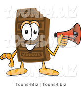 Vector Illustration of a Cartoon Chocolate Mascot Holding a Megaphone by Toons4Biz