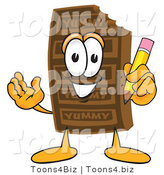 Vector Illustration of a Cartoon Chocolate Mascot Holding a Pencil by Toons4Biz