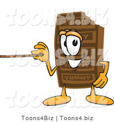 Vector Illustration of a Cartoon Chocolate Mascot Holding a Pointer Stick by Toons4Biz