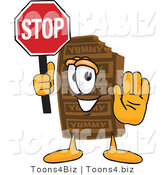 Vector Illustration of a Cartoon Chocolate Mascot Holding a Stop Sign by Toons4Biz