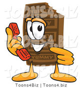 Vector Illustration of a Cartoon Chocolate Mascot Holding a Telephone by Toons4Biz