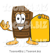 Vector Illustration of a Cartoon Chocolate Mascot Holding a Yellow Sales Price Tag by Toons4Biz