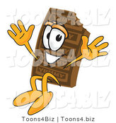 Vector Illustration of a Cartoon Chocolate Mascot Jumping by Toons4Biz