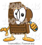 Vector Illustration of a Cartoon Chocolate Mascot Looking Through a Magnifying Glass by Toons4Biz
