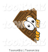 Vector Illustration of a Cartoon Chocolate Mascot Peeking Around a Corner by Toons4Biz
