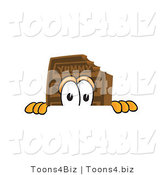 Vector Illustration of a Cartoon Chocolate Mascot Peeking over a Surface by Toons4Biz