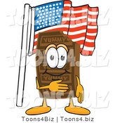 Vector Illustration of a Cartoon Chocolate Mascot Pledging Allegiance to an American Flag by Toons4Biz