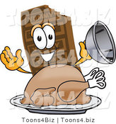 Vector Illustration of a Cartoon Chocolate Mascot Serving a Thanksgiving Turkey on a Platter by Toons4Biz