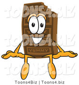 Vector Illustration of a Cartoon Chocolate Mascot Sitting by Toons4Biz