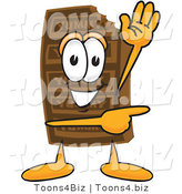 Vector Illustration of a Cartoon Chocolate Mascot Waving and Pointing by Toons4Biz