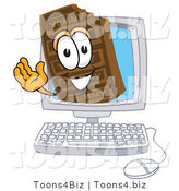 Vector Illustration of a Cartoon Chocolate Mascot Waving from Inside a Computer Screen by Toons4Biz