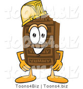 Vector Illustration of a Cartoon Chocolate Mascot Wearing a Hardhat Helmet by Toons4Biz