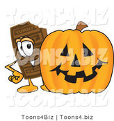 Vector Illustration of a Cartoon Chocolate Mascot with a Carved Halloween Pumpkin by Toons4Biz