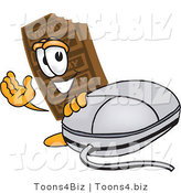 Vector Illustration of a Cartoon Chocolate Mascot with a Computer Mouse by Toons4Biz
