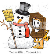 Vector Illustration of a Cartoon Chocolate Mascot with a Snowman on Christmas by Toons4Biz