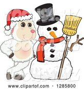 Vector Illustration of a Cartoon Christmas Lamb Mascot with a Winter Snowman by Toons4Biz