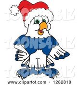 Vector Illustration of a Cartoon Christmas Seahawk Mascot Wearing a Santa Hat by Toons4Biz