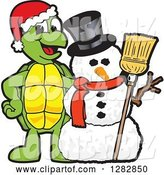 Vector Illustration of a Cartoon Christmas Turtle Mascot with a Winter Snowman by Toons4Biz