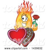 Vector Illustration of a Cartoon Comet Mascot Holding a Rose over a Valentines Day Candy Box by Toons4Biz