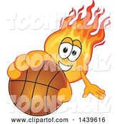 Vector Illustration of a Cartoon Comet Mascot Holding out a Basketball by Toons4Biz