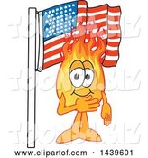 Vector Illustration of a Cartoon Comet Mascot Pledging Allegiance to the American Flag by Toons4Biz