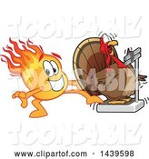 Vector Illustration of a Cartoon Comet Mascot Stepping on a Scale to Shock a Turkey by Toons4Biz