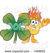 Vector Illustration of a Cartoon Comet Mascot with a Lucky Four Leaf St Patricks Day Shamrock Clover by Toons4Biz