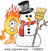 Vector Illustration of a Cartoon Comet Mascot with a Snowman by Toons4Biz