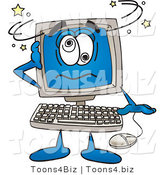 Vector Illustration of a Cartoon Computer Mascot Confused and Seeing Stars by Toons4Biz