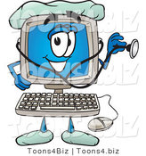 Vector Illustration of a Cartoon Computer Mascot Doctor Holding a Stethoscope by Toons4Biz