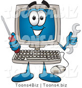 Vector Illustration of a Cartoon Computer Mascot Holding a Wrench and Screwdriver by Toons4Biz