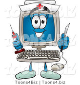 Vector Illustration of a Cartoon Computer Mascot Nurse with a Knife and Syringe by Toons4Biz
