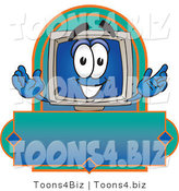 Vector Illustration of a Cartoon Computer Mascot on a Blank Label by Toons4Biz