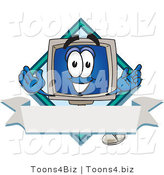 Vector Illustration of a Cartoon Computer Mascot on a Blank Label with a Blank Banner and Diamond by Toons4Biz