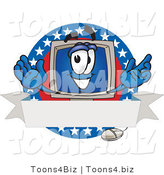 Vector Illustration of a Cartoon Computer Mascot on a Blank Label with an American Theme by Toons4Biz