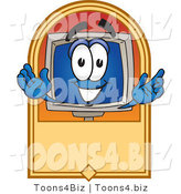 Vector Illustration of a Cartoon Computer Mascot on a Blank Tan Label by Toons4Biz