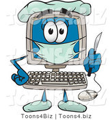 Vector Illustration of a Cartoon Computer Mascot Plastic Surgeon with a Knife by Toons4Biz