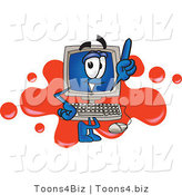 Vector Illustration of a Cartoon Computer Mascot Standing in Front of a Red Paint Splatter on a Logo by Toons4Biz