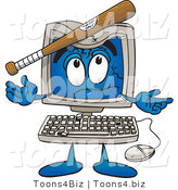 Vector Illustration of a Cartoon Computer Mascot with a Baseball Bat Crashing Its Screen by Toons4Biz